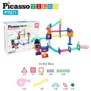 PicassoTiles 71pc Marble Run Building Blocks PTG71