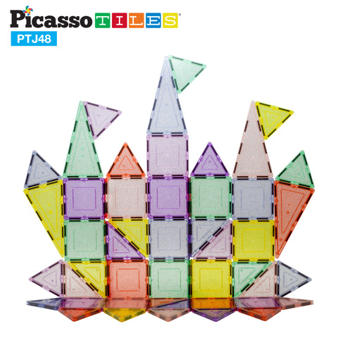 Image of PicassoTiles 48pc Magnetic Building Tile Block Set