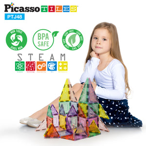 PicassoTiles 48pc Magnetic Building Tile Block Set PTJ48