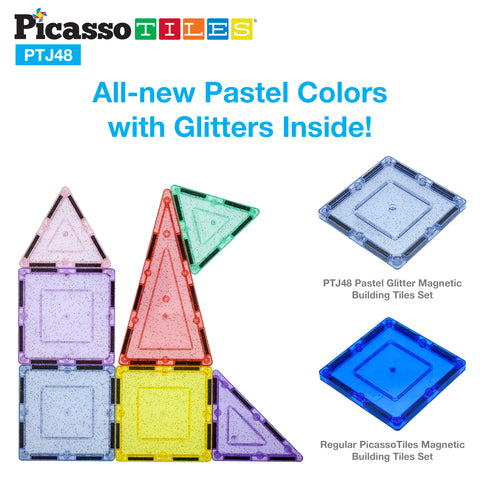 Image of PicassoTiles 48pc Magnetic Building Tile Block Set PTJ48
