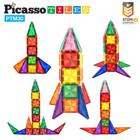 Image of PicassoTiles® Mini Diamond 30pc Rocket Set PTM30