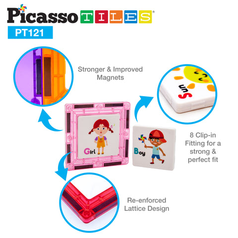 PicassoTiles 121 Piece Magnetic Building Block Set