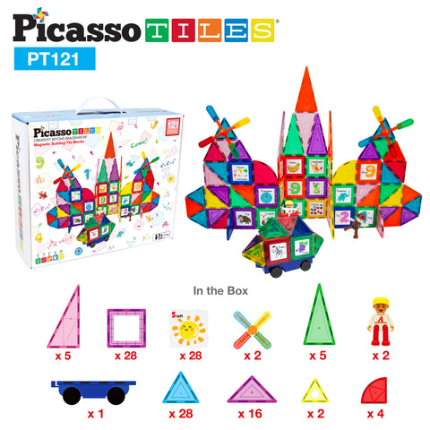 Image of PicassoTiles 121 Piece Magnetic Building Block Set