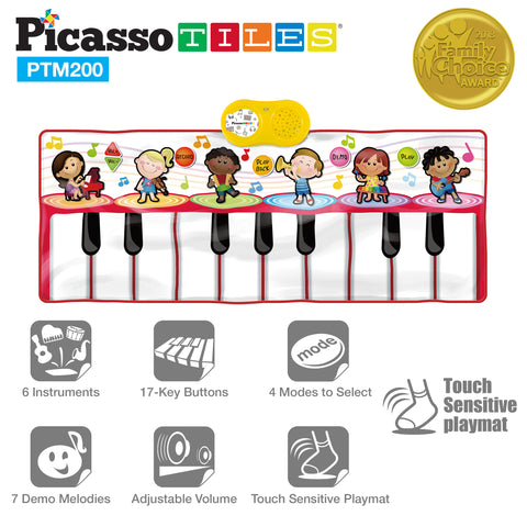 PicassoTiles® PTM200 Educational Piano Music Playmat