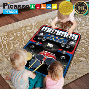 PicassoTiles® PTM201 Educational 2-in-1 Piano and Drum Kit