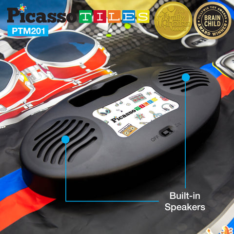 Image of PicassoTiles® PTM201 Educational 2-in-1 Piano and Drum Kit