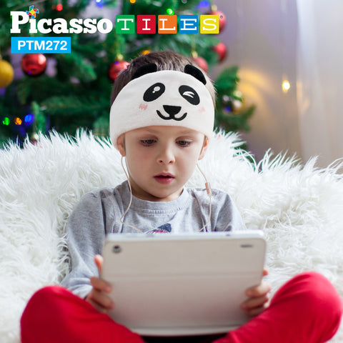 Image of PicassoTiles® PTM272 85dB Kid Safe Fleece Headphone -Panda