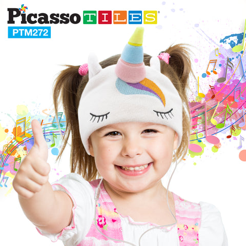 Image of PicassoTiles® PTM272 85dB Kid Safe Fleece Headphone - Unicorn