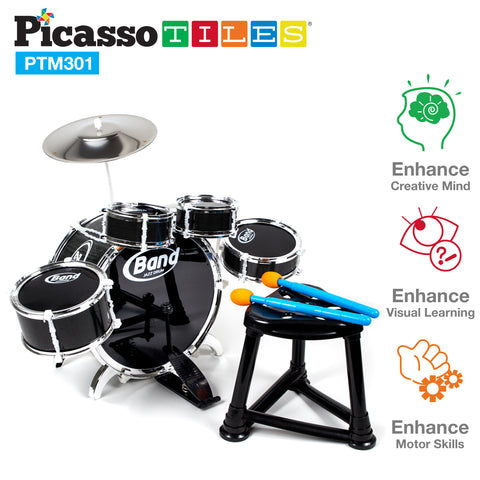PicassoTiles® PTM301 10 Piece Musical Instrument Drum Set Kit