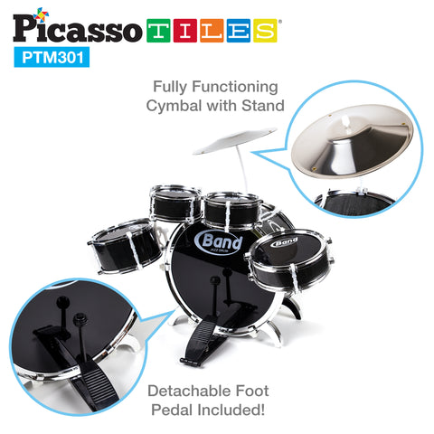 Image of PicassoTiles® PTM301 10 Piece Musical Instrument Drum Set Kit