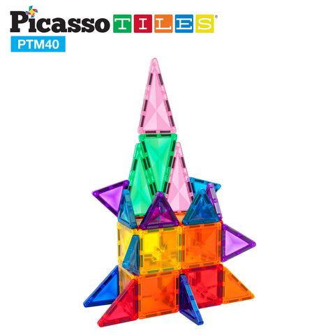 Image of PicassoTiles Mini Diamond 40pc Building Block Tiles PTM40