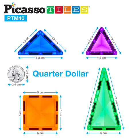 Image of PicassoTiles Mini Diamond 40pc Building Block Tiles