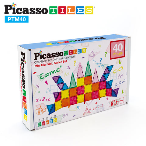PicassoTiles Mini Diamond 40pc Building Block Tiles