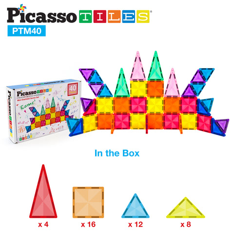 PicassoTiles Mini Diamond 40pc Building Block Tiles PTM40