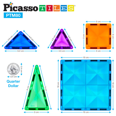 Image of PicassoTiles® Mini Diamond 80pc Set PTM80
