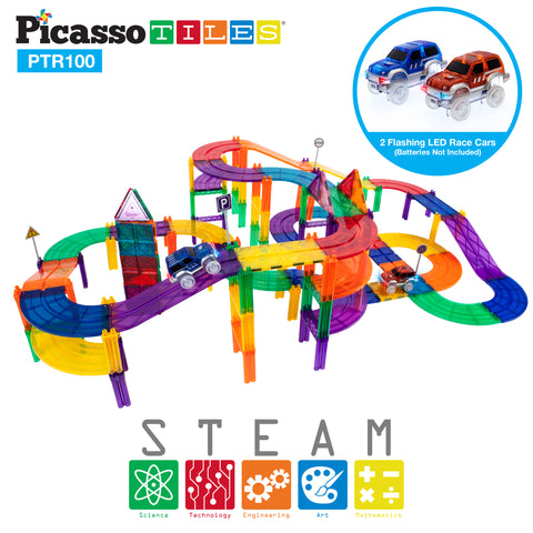Image of PicassoTiles 100 Pieces Race Track Building Blocks