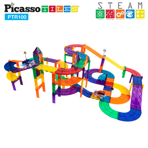 PicassoTiles 100pc Race Track Building Blocks PTR100