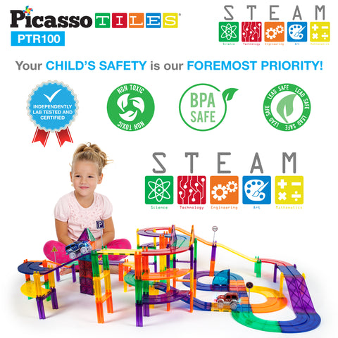 Image of PicassoTiles 100pc Race Track Building Blocks PTR100