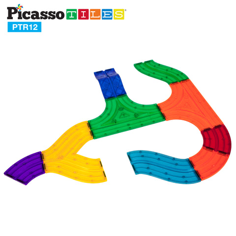 Image of PicassoTiles 12 Piece Race Track Expansion Variety Add-On Pack PTR12