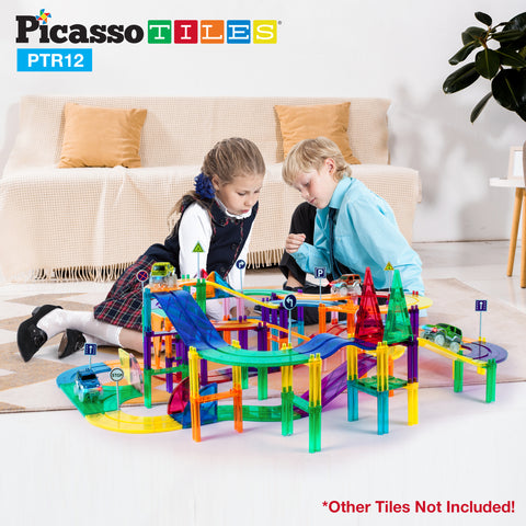 PicassoTiles 12 Piece Race Track Expansion Variety Add-On Pack PTR12