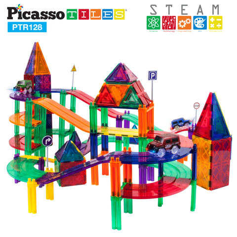 Image of PicassoTiles® 128pc Race Track Building Blocks PTR128