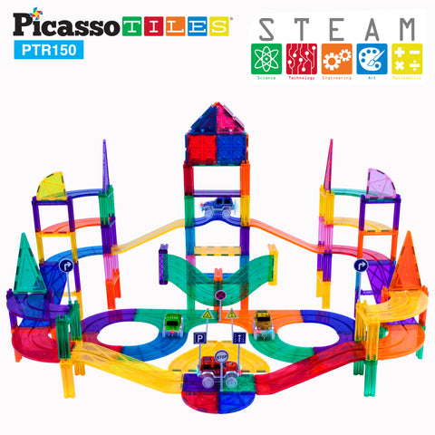 Image of PicassoTiles 150 Pieces Race Track Building Blocks PTR150