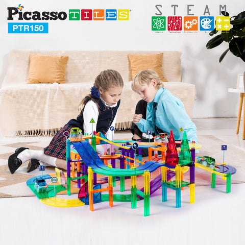 PicassoTiles 150 Pieces Race Track Building Blocks PTR150