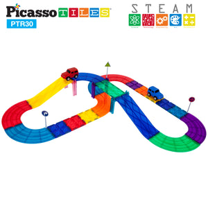 PicassoTiles® 30pc Race Track Building Blocks PTR30