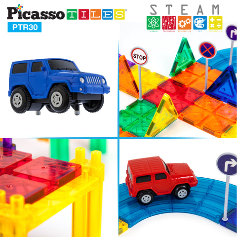 Image of PicassoTiles® 30pc Race Track Building Blocks PTR30