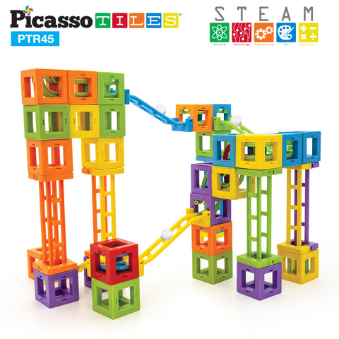 Image of PicassoTiles® PTR45 45 Pcs 3D Magnetic Roller Coaster Building Blocks