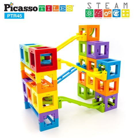PicassoTiles® PTR45 45 Pcs 3D Magnetic Roller Coaster Building Blocks