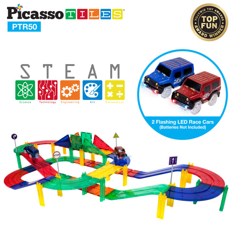 Image of PicassoTiles® 50pc Race Track Building Blocks PTR50