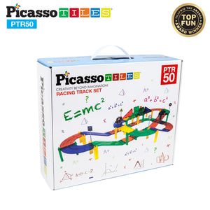 PicassoTiles® 50pc Race Track Building Blocks PTR50