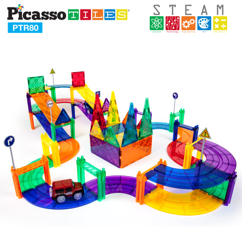 PicassoTiles® 80pc Race Track Building Blocks PTR80