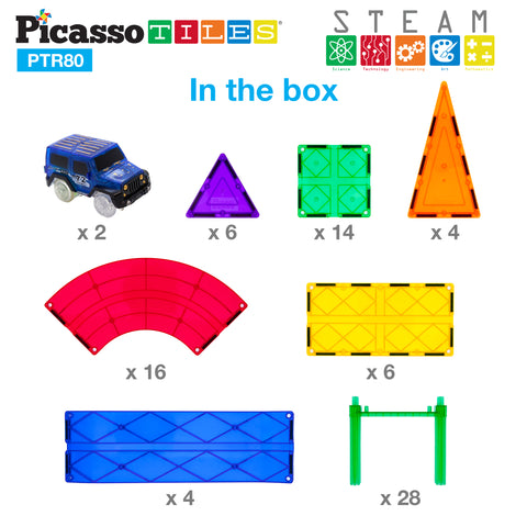Image of PicassoTiles® 80pc Race Track Building Blocks PTR80
