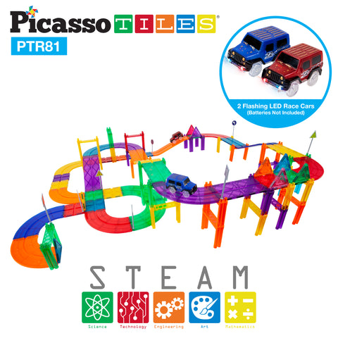 Image of PicassoTiles 81pc Race Track Building Blocks
