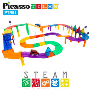 PicassoTiles 81pc Race Track Building Blocks PTR81