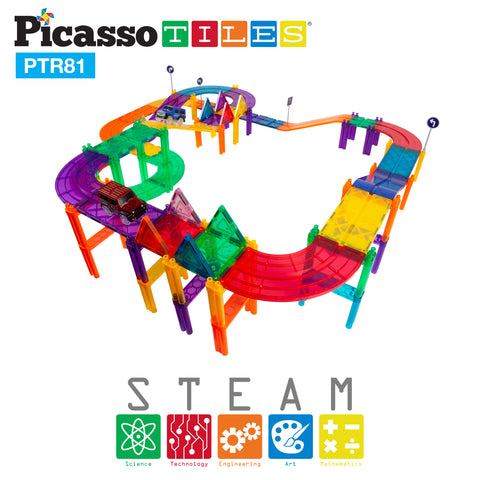 Image of PicassoTiles 81pc Race Track Building Blocks PTR81