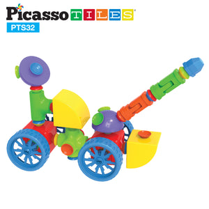PicassoTiles 32pc Building Block Set Suction Connect PTS32