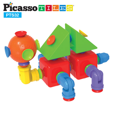 Image of PicassoTiles 32pc Building Block Set Suction Connect PTS32
