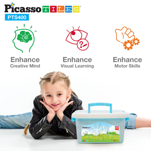 PicassoTiles 400pc Straw Building Set PTS400