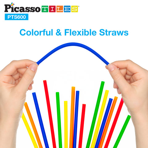 Image of PicassoTiles 600pc Straw Building Set PTS600