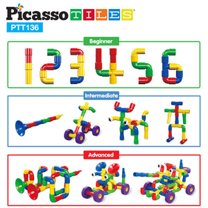 PicassoTiles PTT136 Tube Building Block w/ Musical Kit Pipes Puzzle Toy Set