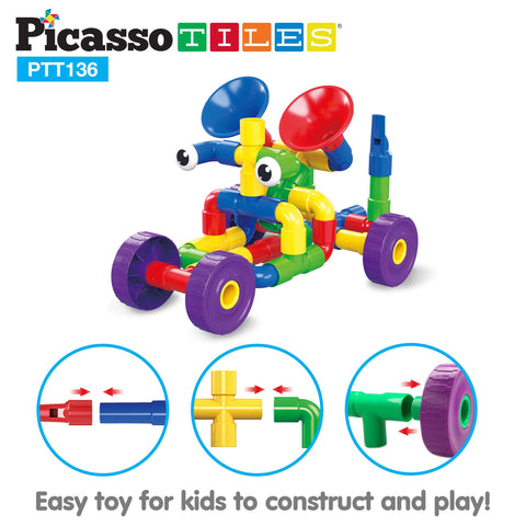 Image of PicassoTiles PTT136 Tube Building Block w/ Musical Kit Pipes Puzzle Toy Set