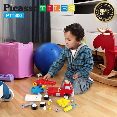 Image of PicassoTiles® PTT300 Educational Constructible Fire Truck
