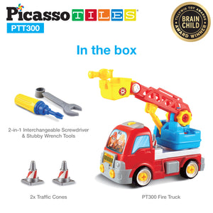 PicassoTiles® PTT300 Educational Constructible Fire Truck
