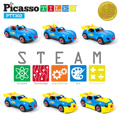Image of PicassoTiles Take-A-Part Race Car PTT302