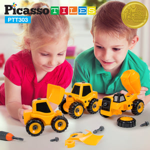 PicassoTiles PTT303 3-in-1 Educational Constructible DIY Take-A-Part Toy