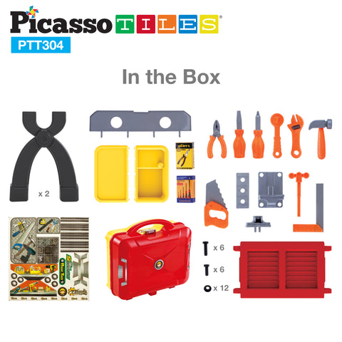 PicassoTiles Educational DIY Take-A-Part Suitcase Tool Table Toy PTT304