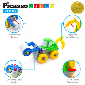 PicassoTiles PTT305 2-in-1 Educational Constructible Take-A-Part Toy